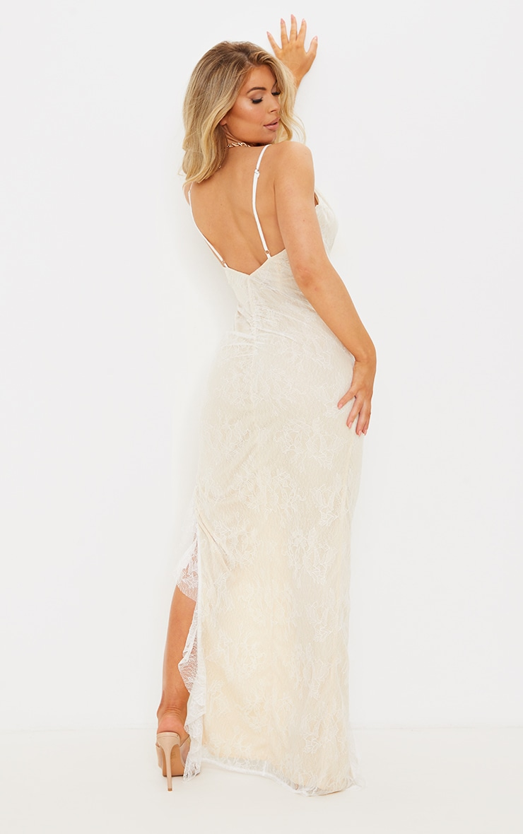 White Lace Ruched Bum Strappy Maxi Dress 2