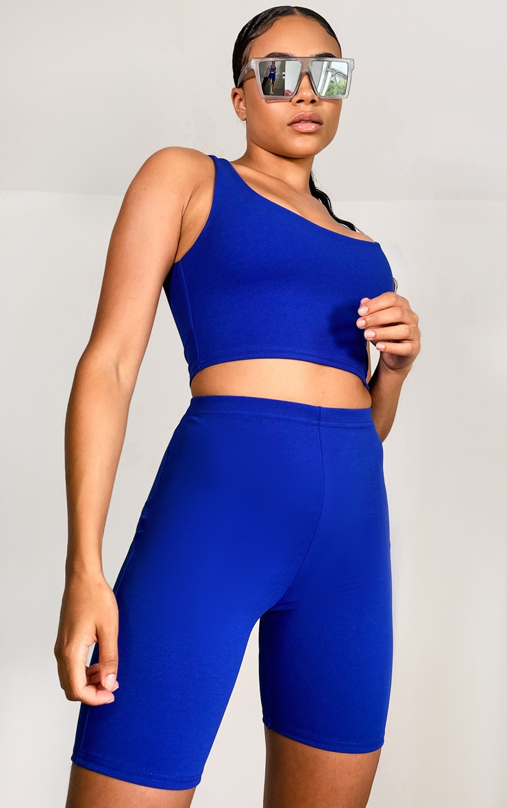 Cobalt Crop Top & Bike Shorts Set 3