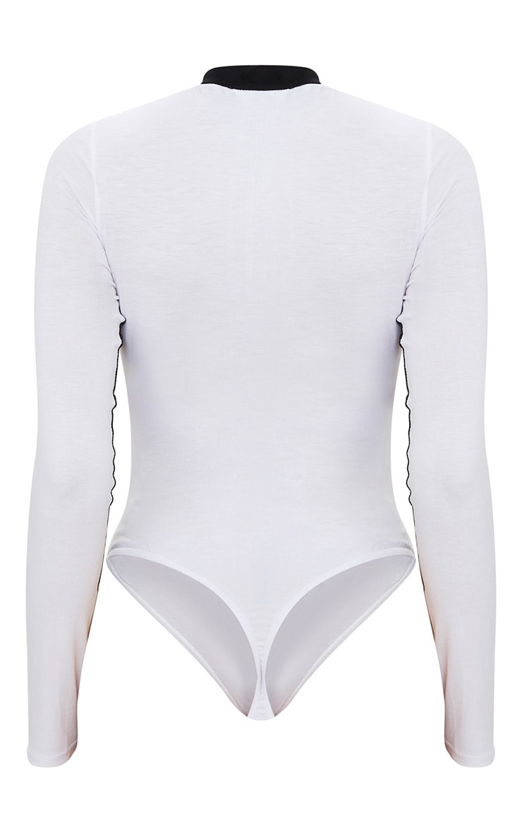 White Sport Zip Front Long Sleeve Thong Bodysuit 4