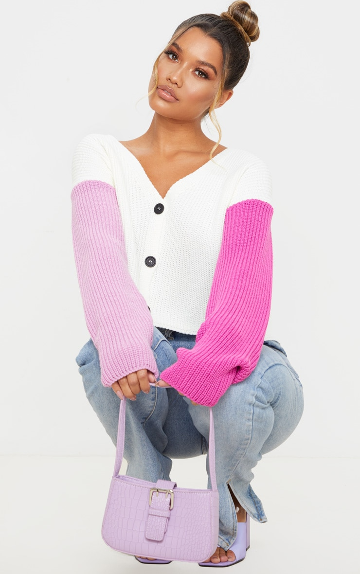 Pink Color Block Button Up Cropped Cardigan 1