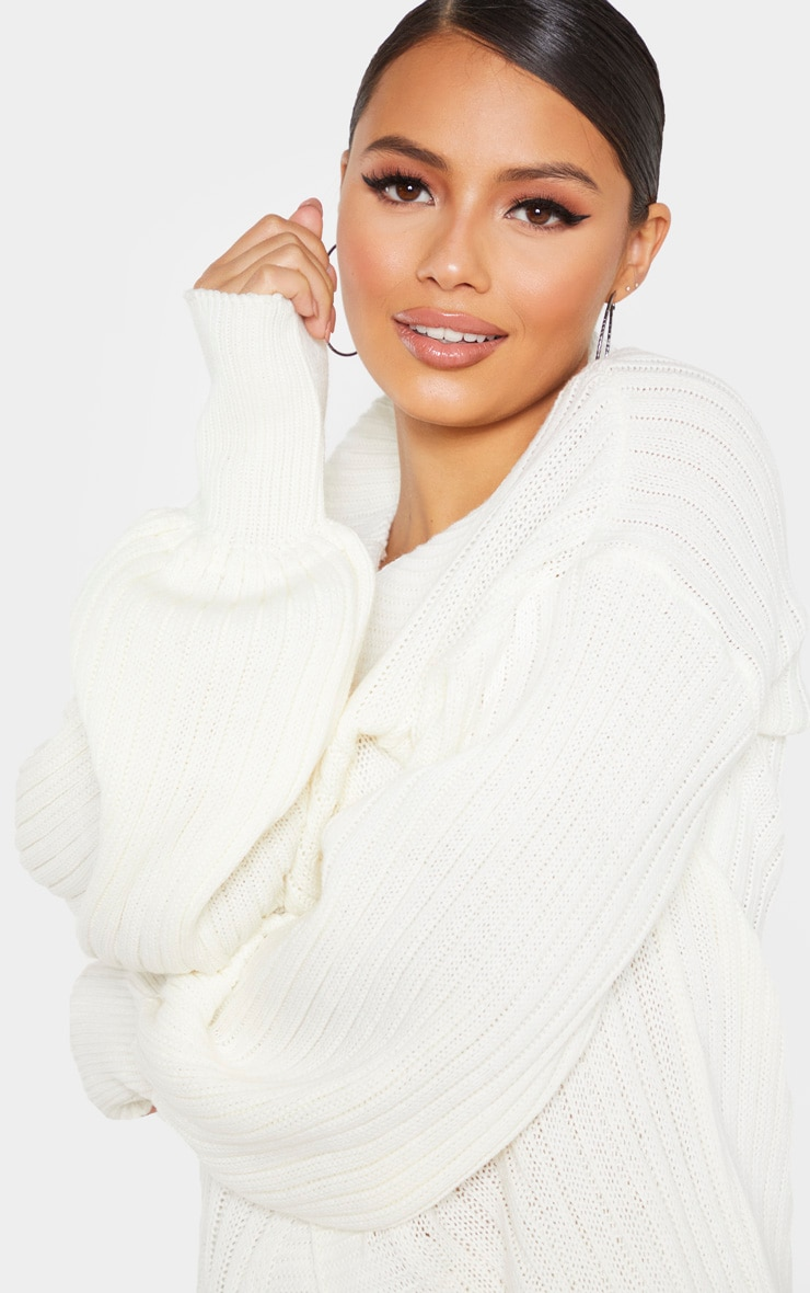 Petite Cream Ribbed Knitted Cardigan 5