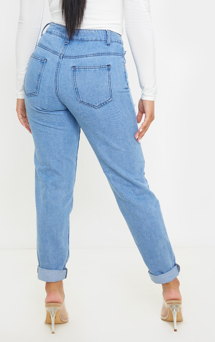 Petite Mid Wash Distressed Jean 4