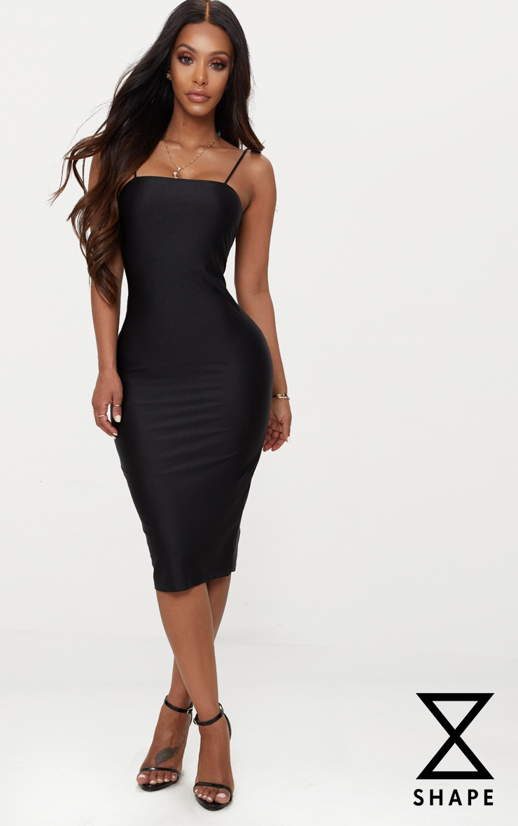 Shape Black Disco Slinky Straight Neck Midi Dress 1