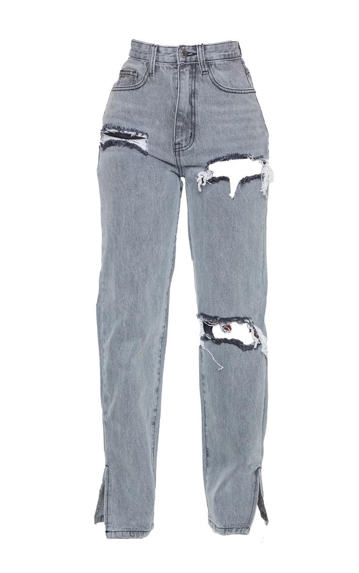 Petite Grey Ripped Split Hem Jeans 5