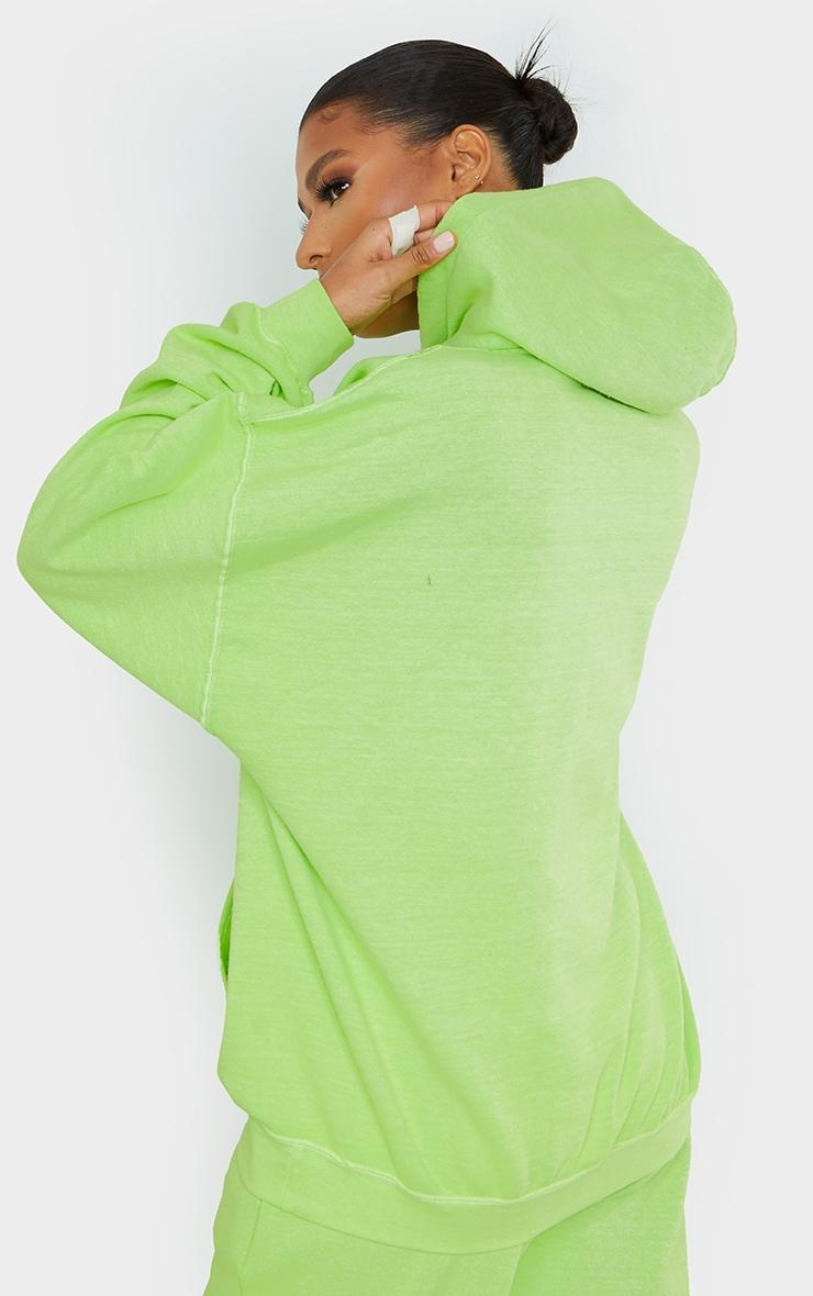 PRETTYLITTLETHING Lime Diamante Slogan Hoodie 2