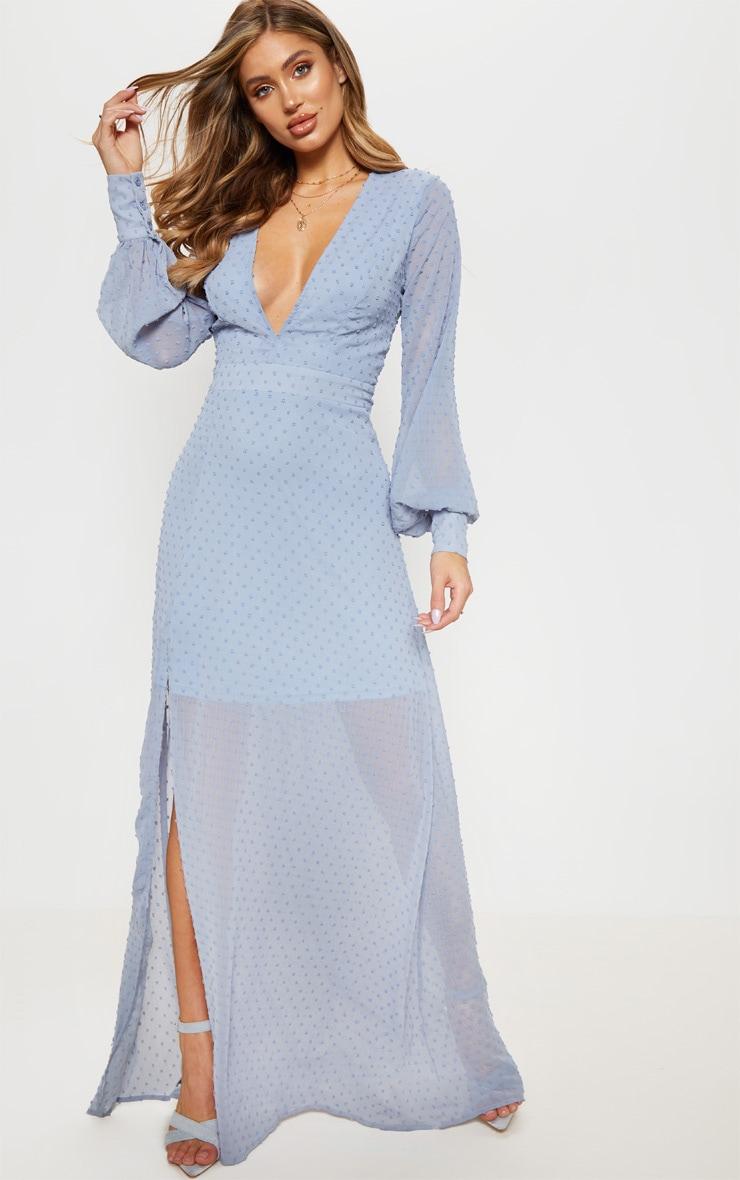 cb4f0b52d2 Blue Dobby Mesh Plunge Long Maxi Dress | PrettyLittleThing