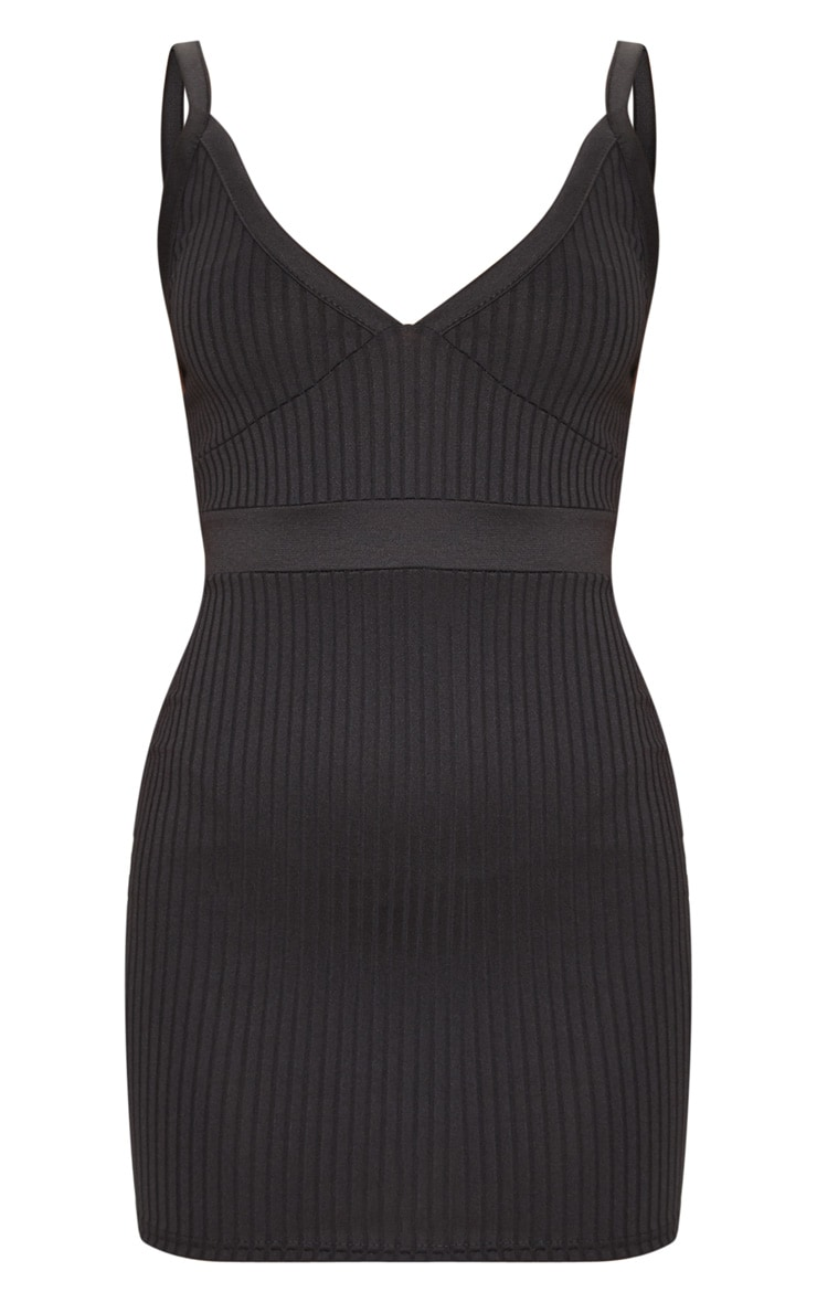 Black Ribbed Sleeveless Cup Detail Bodycon Dress 3