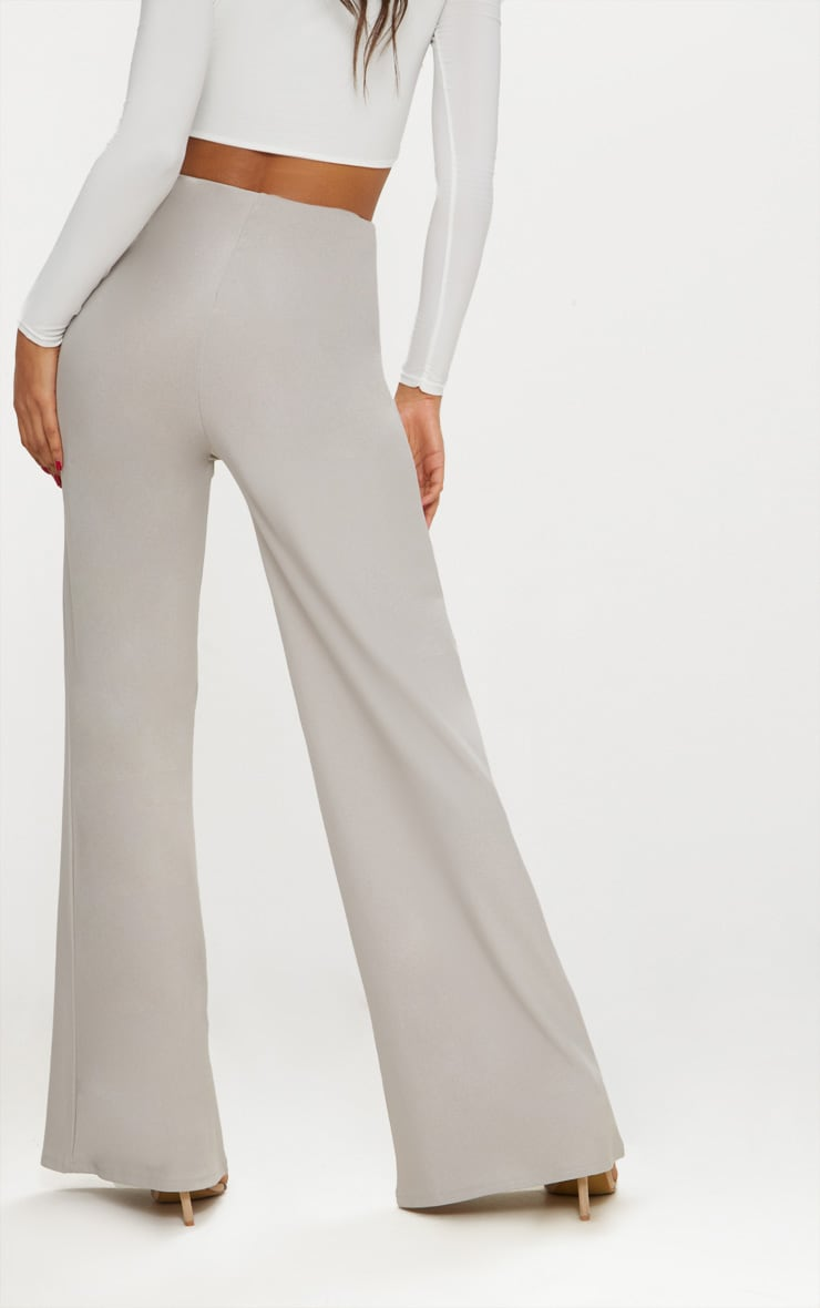 Grey High Waisted Wide Leg Trousers 4