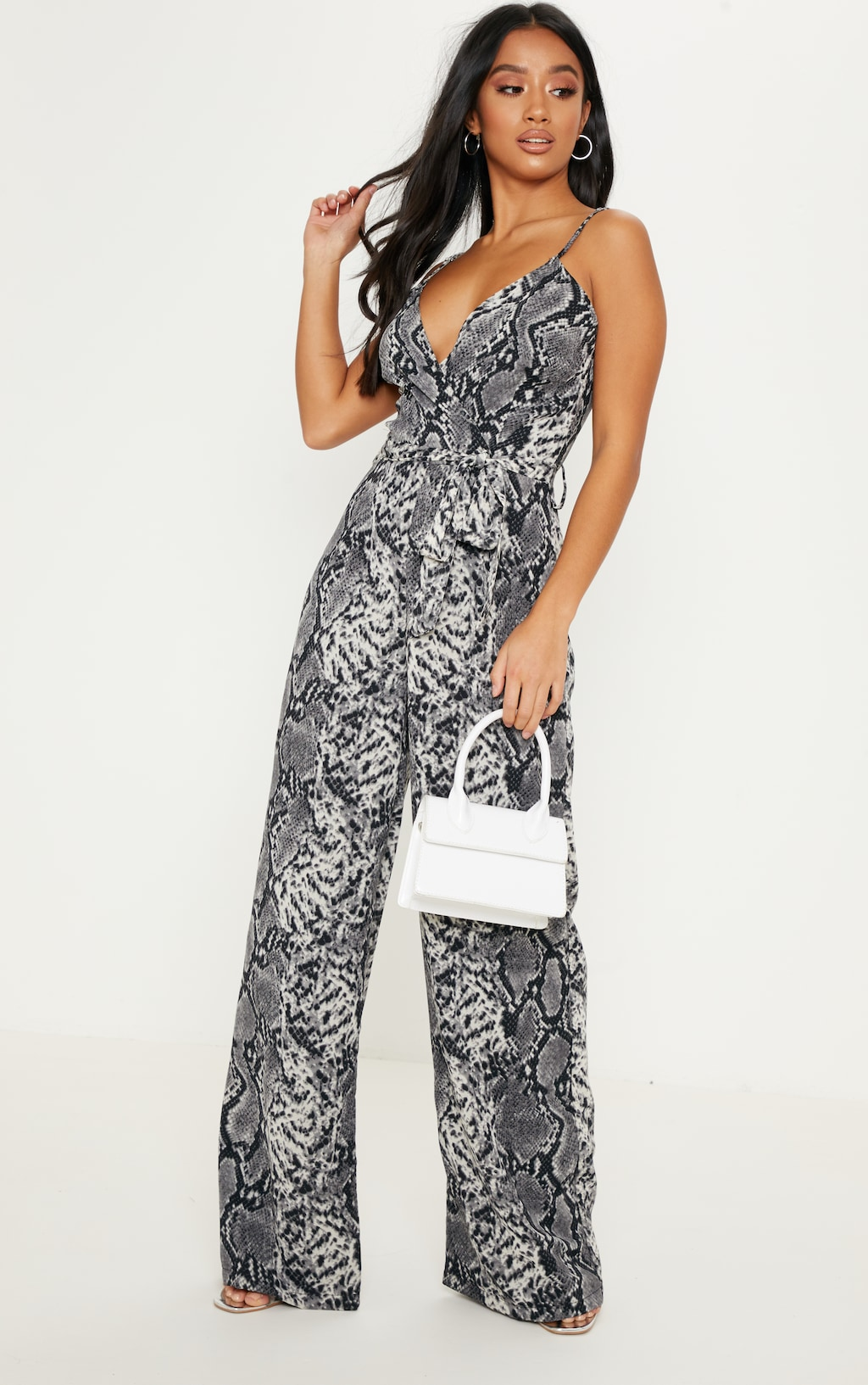 beauty official store new products for Petite Grey Snake Print Strappy Tie Waist Jumpsuit