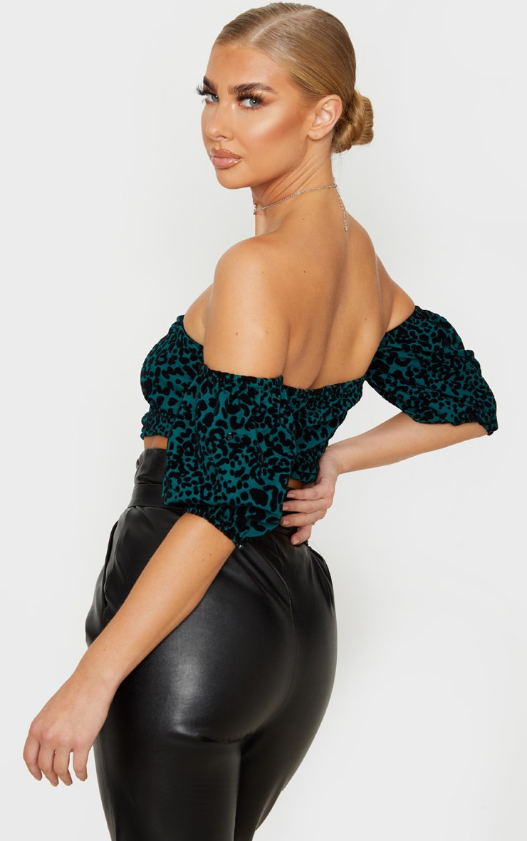 Emerald Green Leopard Bardot Top 2