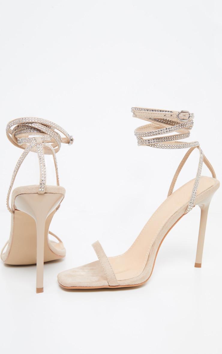 Nude Ankle Diamante Heel 3