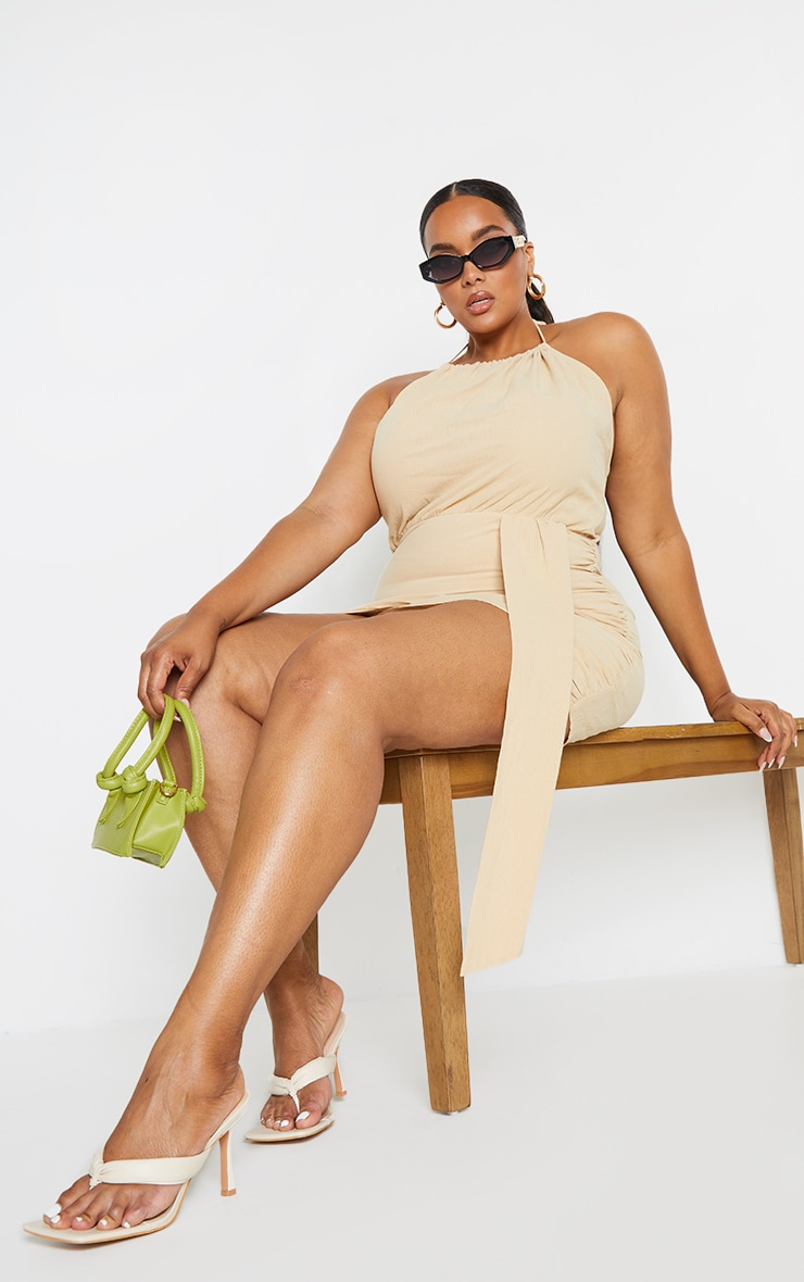 Plus Oatmeal Linen Look Drape Detail Bodycon Dress 1