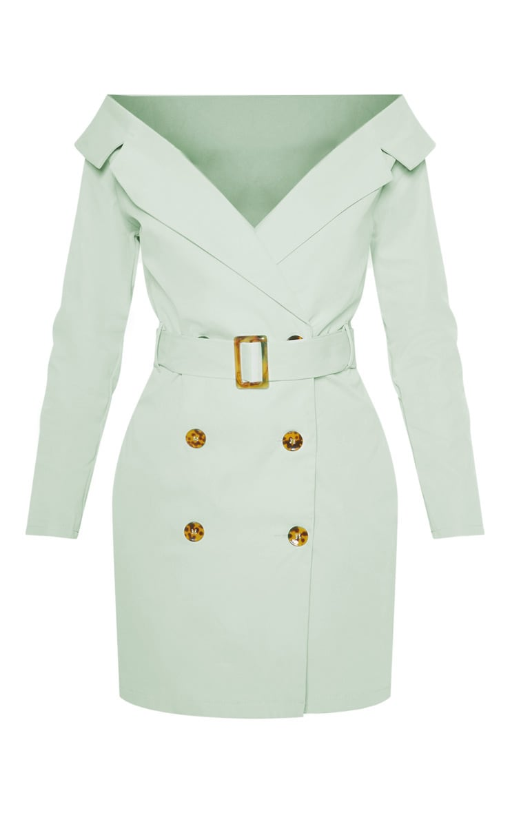 Sage Green Bardot Tortoise Button Belted Blazer Dress 4