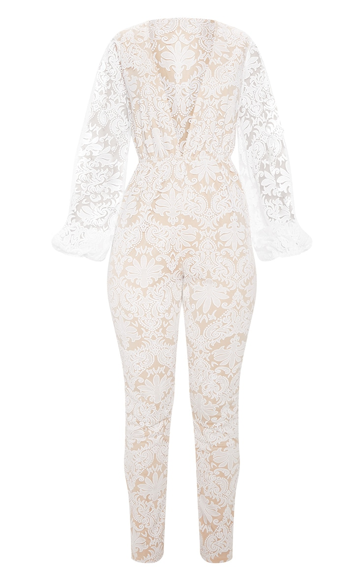White Sheer Paisley Long Sleeve Jumpsuit 3