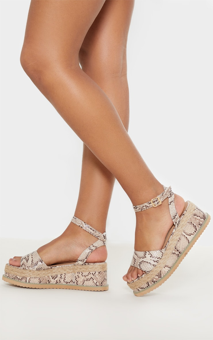 Snake Faux Leather Flatform Sandal 1
