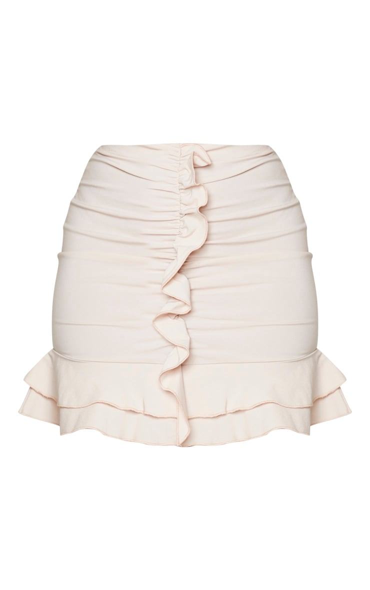 Nude Woven Stretch Frill Ruched Front Mini Skirt 5