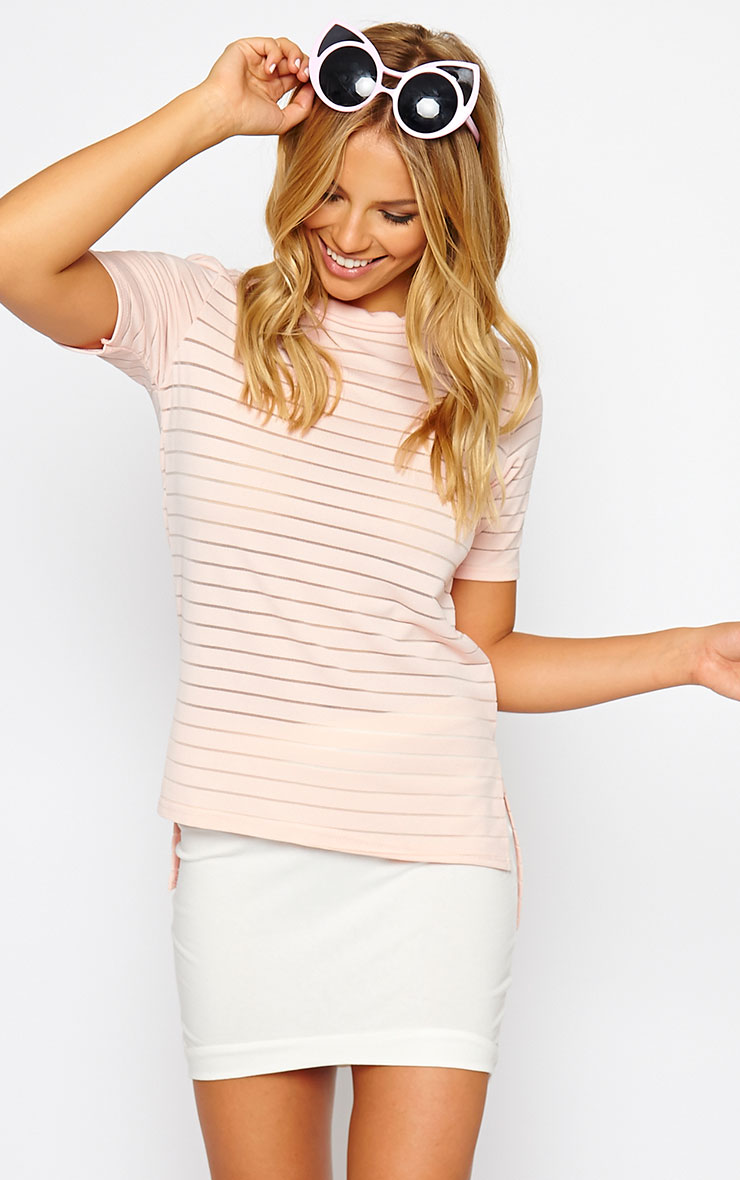 Elodie Nude Stripe Burnout T-Shirt 1
