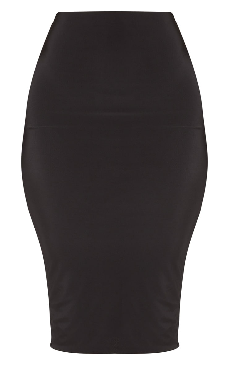 Black Second Skin Slinky Midi Skirt 3