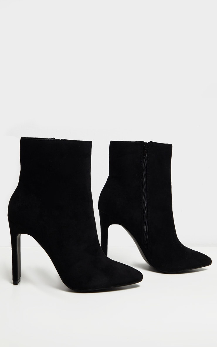 Black Wide Fit Flat Heel Point Ankle Boot 3