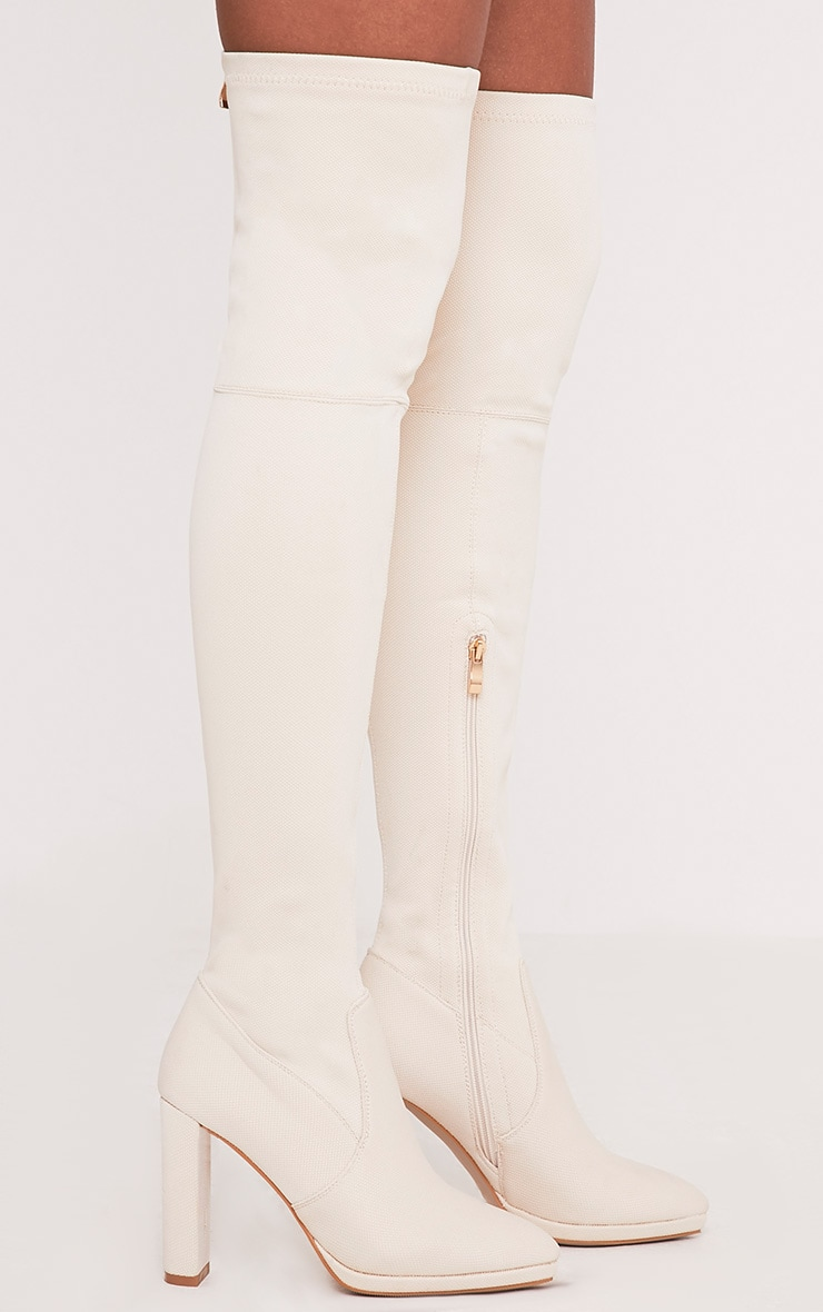 Riyah Stone Knitted Pointy Thigh High Sock Boots 3