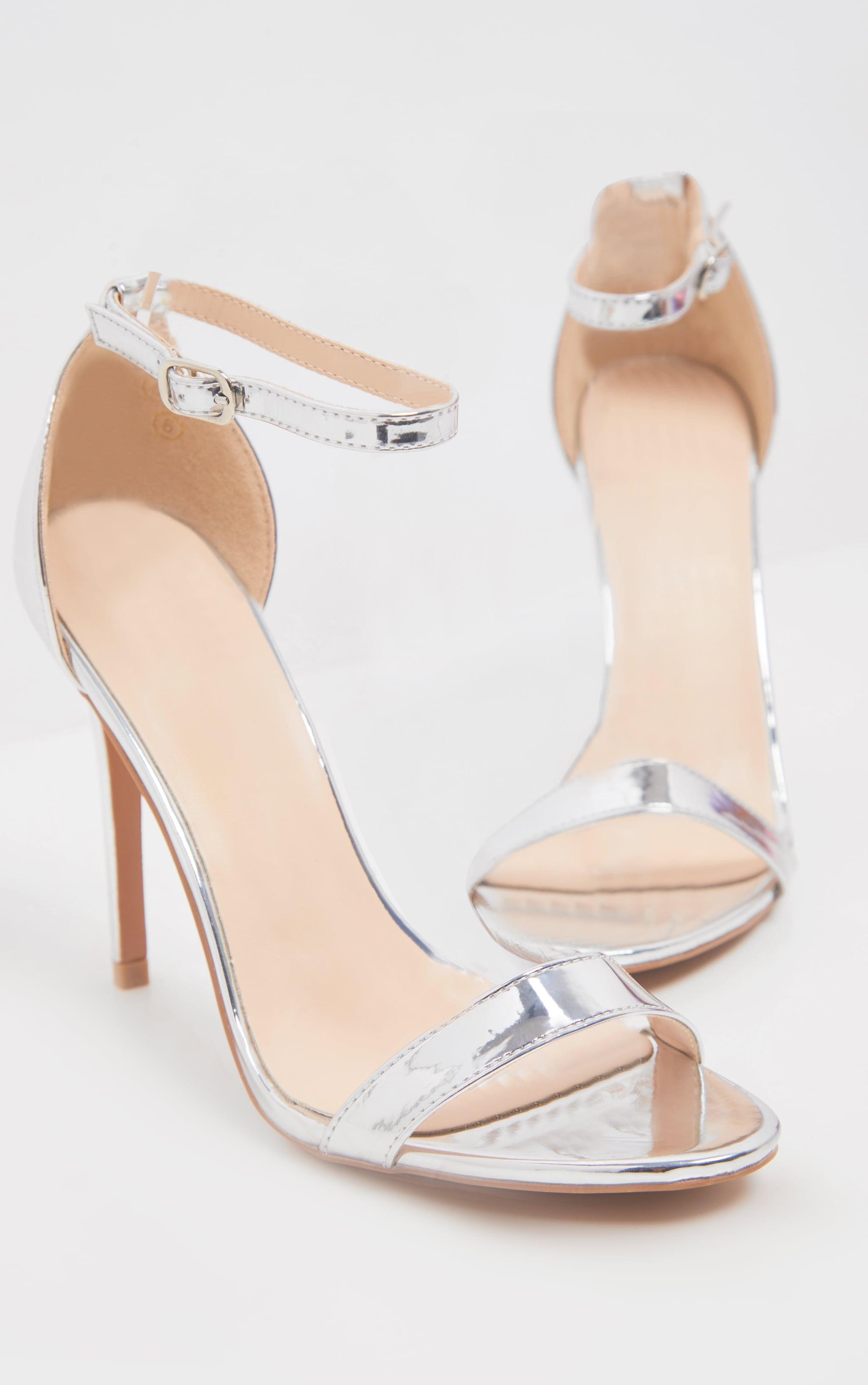Clover Silver Metallic Strap Heeled Sandals 4