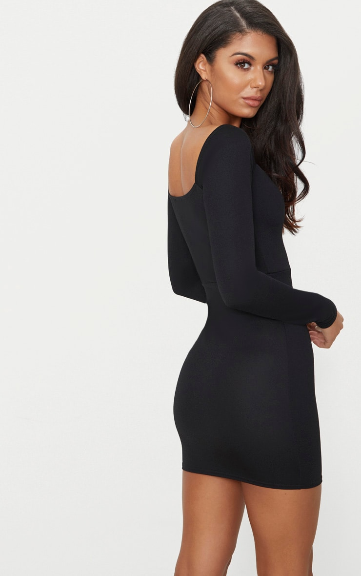 Black Zip Detail Square Neck Bodycon Dress 2