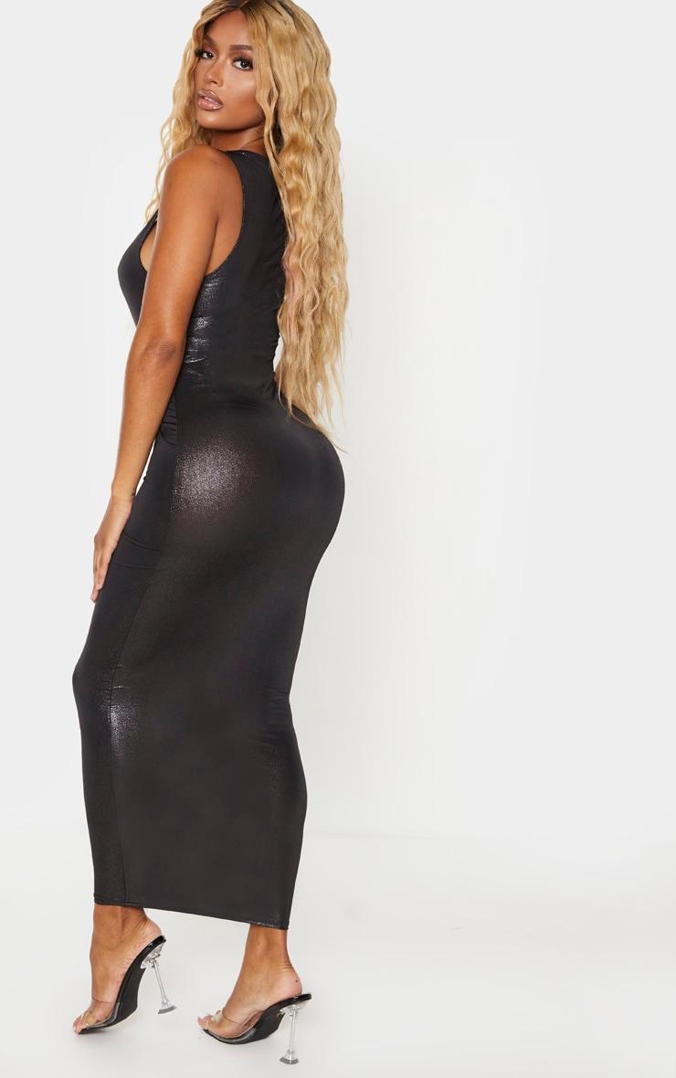 Shape Black Metallic Slinky Scoop Neck Midaxi Dress 2