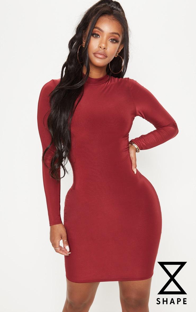 Shape Deep Burgundy Slinky High Neck Bodycon Dress by Prettylittlething