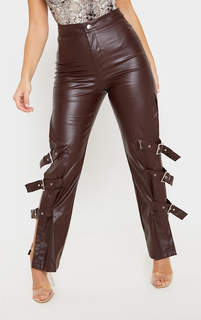 Brown Faux Leather Buckle Strap Detail Trouser
