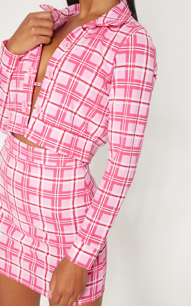 Pink Check Print Button Front Cropped Jacket 4
