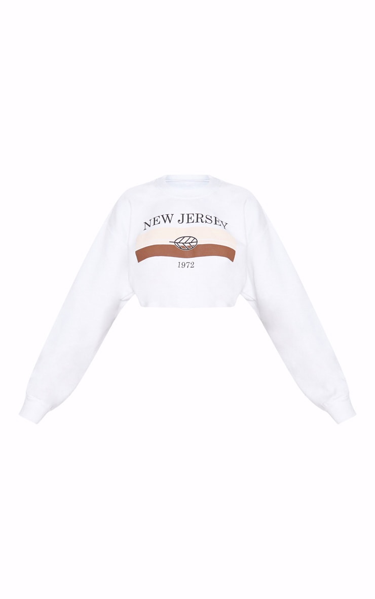 White Printed New Jersey Cropped Sweater 3
