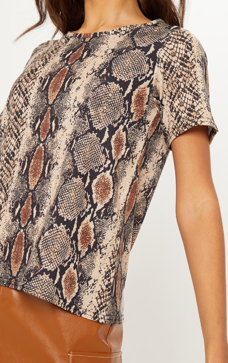 Brown Snake Print T Shirt 5