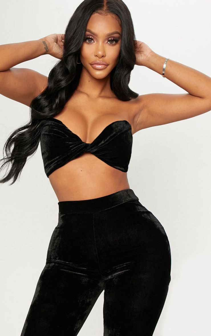 Shape Black Velvet Twist Front Bandeau Crop Top 1
