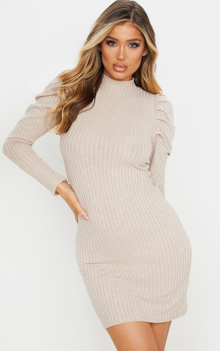 Oatmeal Puff Shoulder Funnel Neck Rib Knitted Dress 3