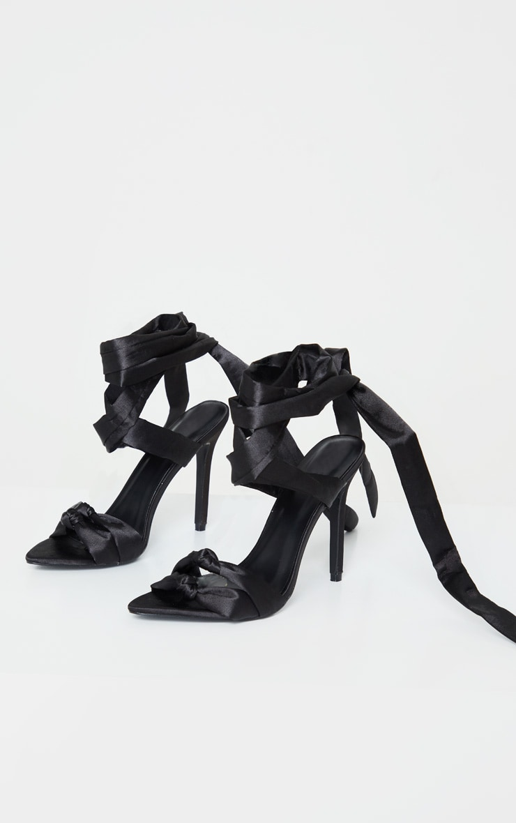 Black Knot Tie Ankle Strappy Point Toe Heeled Sandal 3