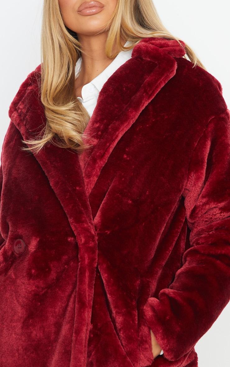 Burgundy Large Lapel Midaxi Faux Fur Coat 5