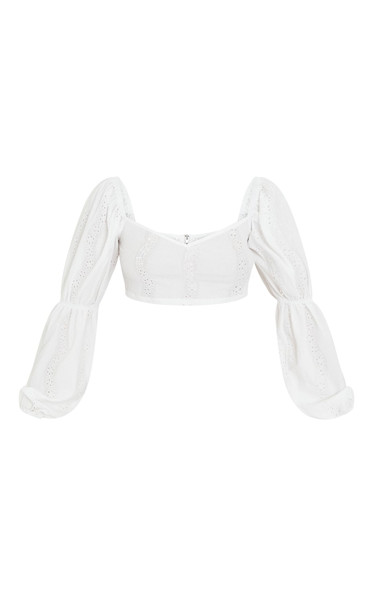 Petite White Broderie Anglaise Balloon Sleeve Cropped Blouse 5