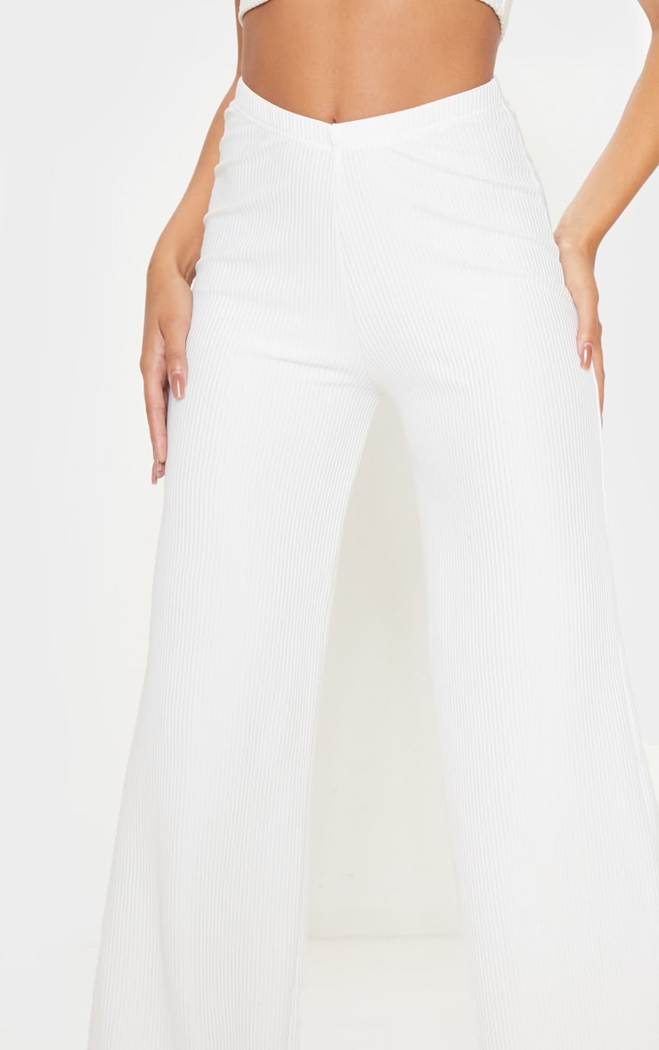 Cream Pleated Detail Wide Leg Pants 5