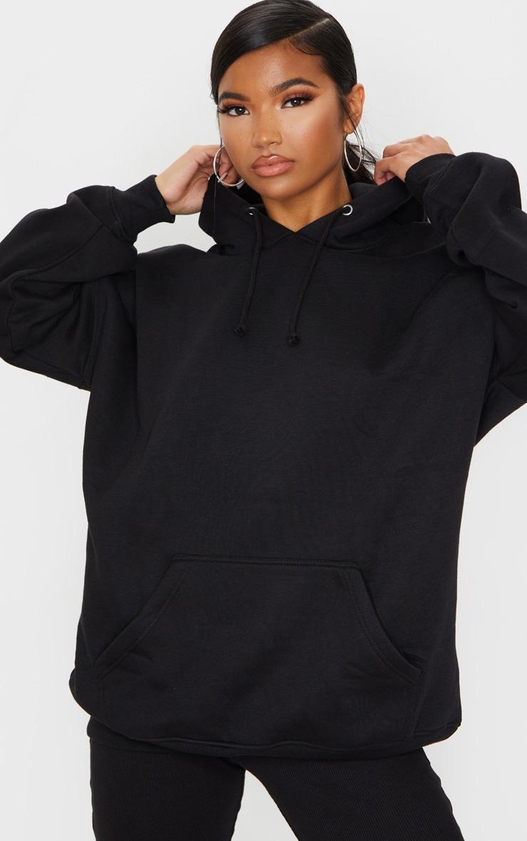 Black Oversized Pocket Front Drawstring Hoodie 1