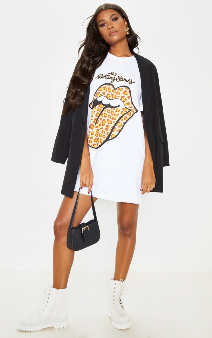 White Rolling Stones Tongue Oversized T Shirt Dress 1