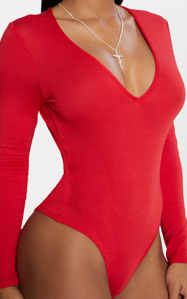 Basic Red V Neck Long Sleeve Bodysuit 4