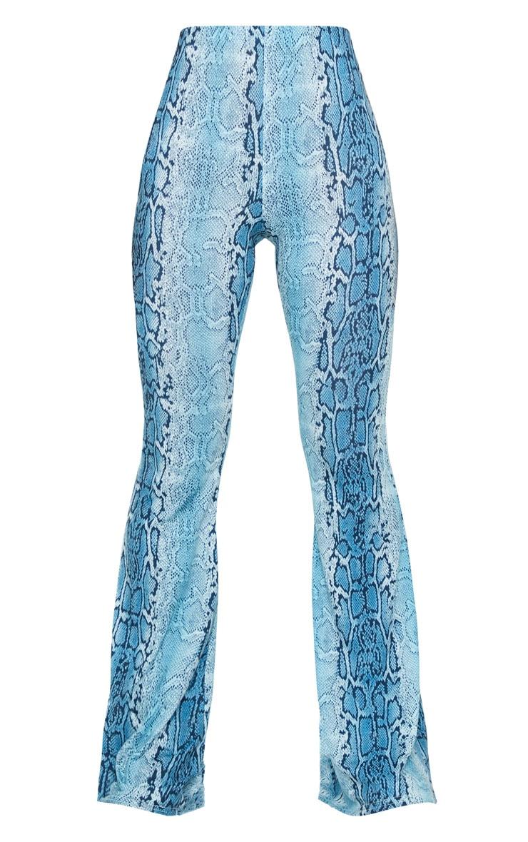 Blue Snake Jersey Flared Pants 5