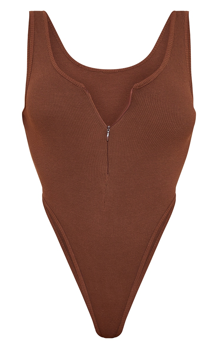 Chocolate High Leg Zip Front Bodysuit 5