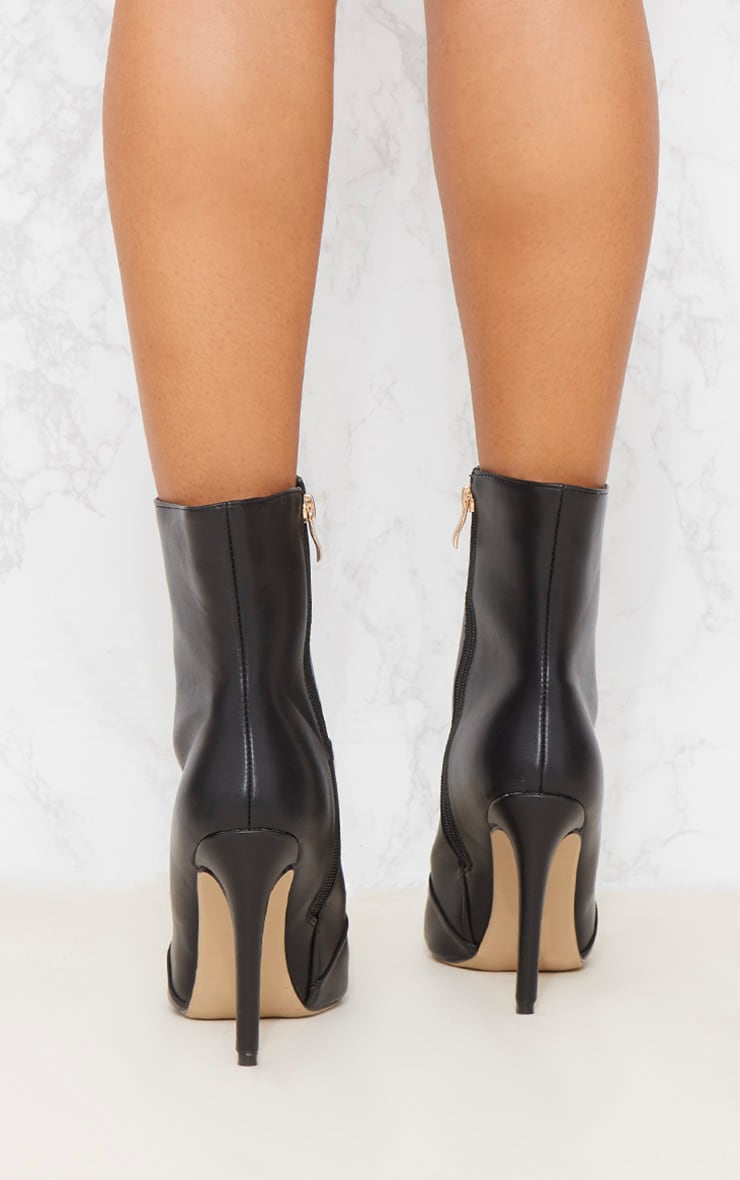Black Gold Button Studded Ankle Boot 5
