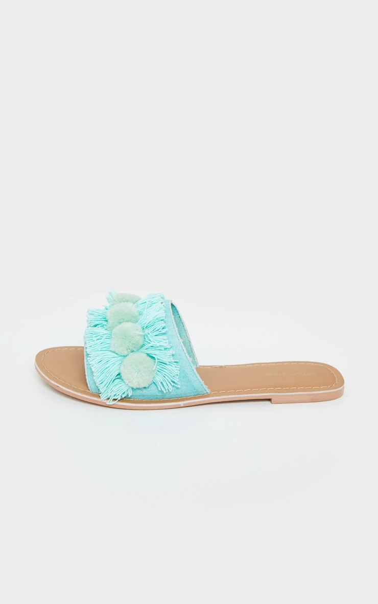 Mint Tassel And Pom Pom Mule Sandals 4