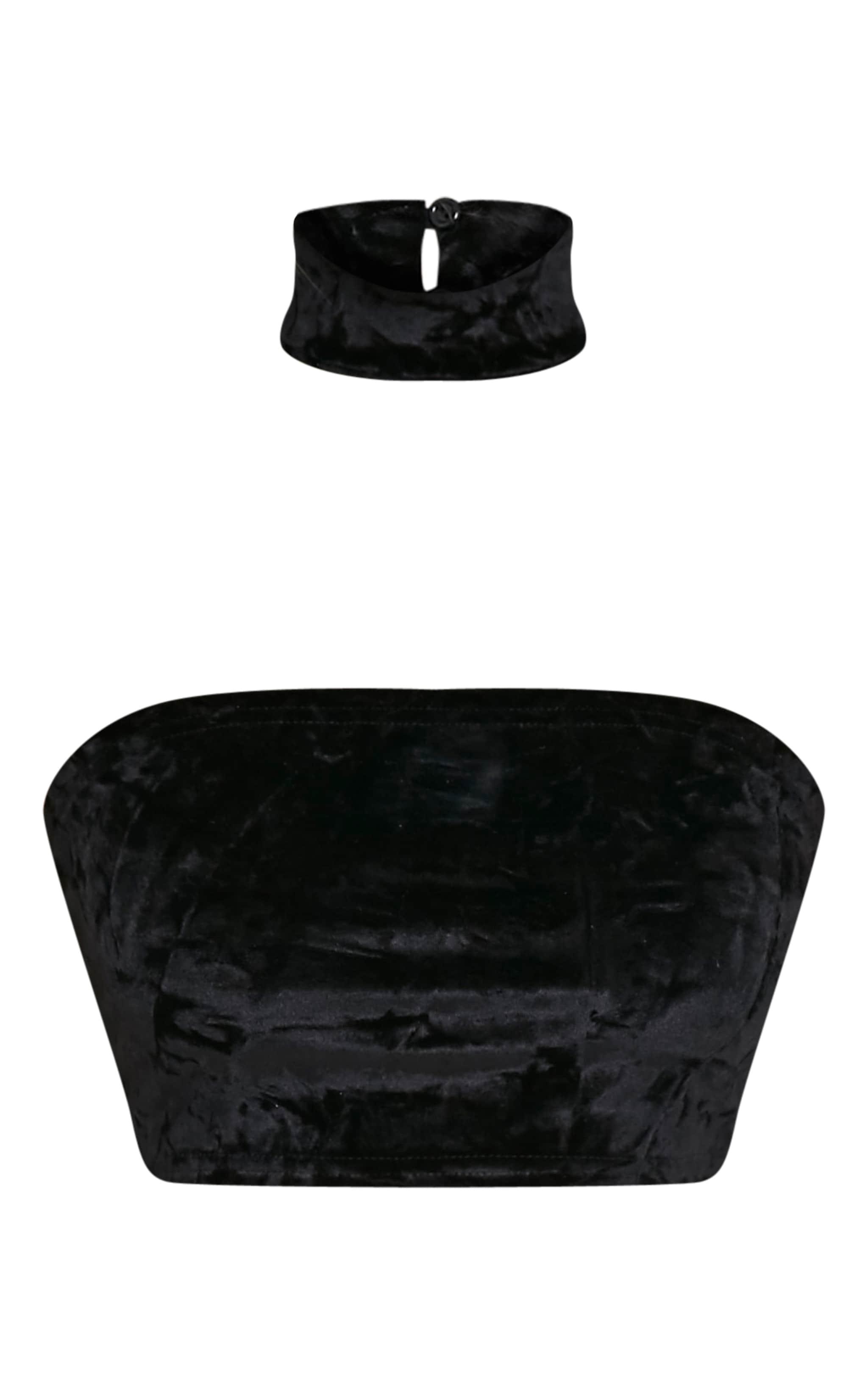 Lacy bandeau et ras du cou en velours écrasé noirs 3