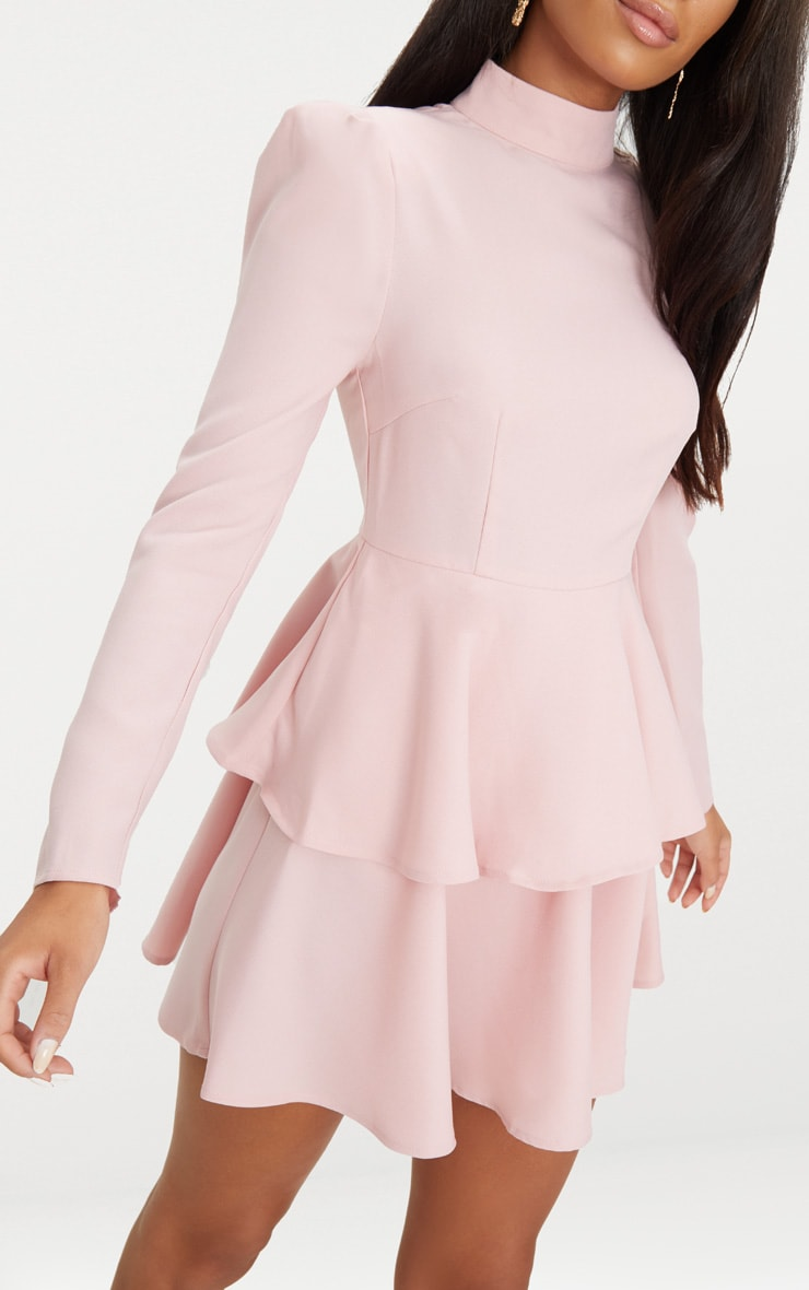 Dusty Pink High Neck Tiered Skater Dress 4