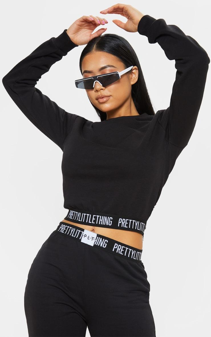 PRETTYLITTLETHING Petite Black Lounge Sweatshirt 1