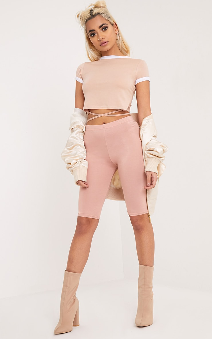 Phillipa Nude Jersey Harness Contrast Crop T Shirt 4