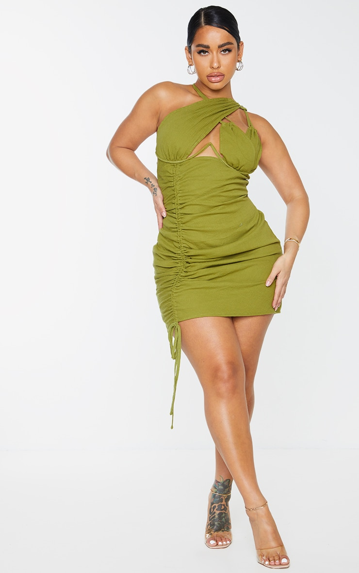 Shape Olive Woven Cup Detail Ruched Side Bodycon Dress 3